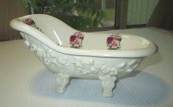 Clawfoot Bathtub Shaped Soap Dish Rose Theme