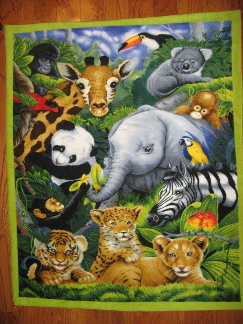 Koala Monkey Lion Panda Elephant Jungle Beautiful Child Bed Size Fleece Blanket