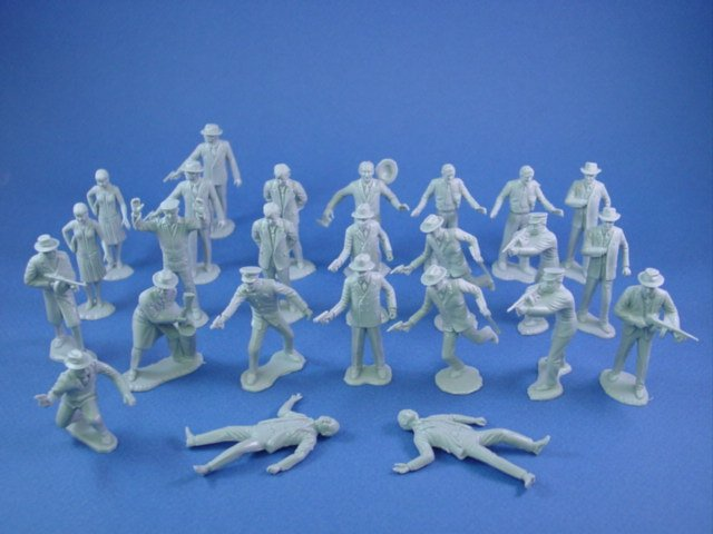 Marx Untouchables Playset Reissue Figures In Gray Set Of 25
