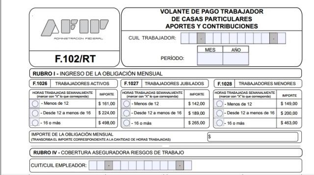 Servicio doméstico: cómo es el formulario 102/RT