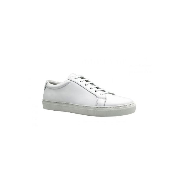 minimalist white leather trainers