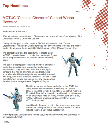 SDCC 2012 - Mattycollector Create-A-Figure Winner