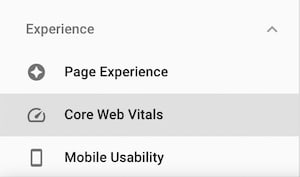 core web vitals menu