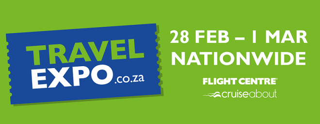 travel expo logo in green and blue