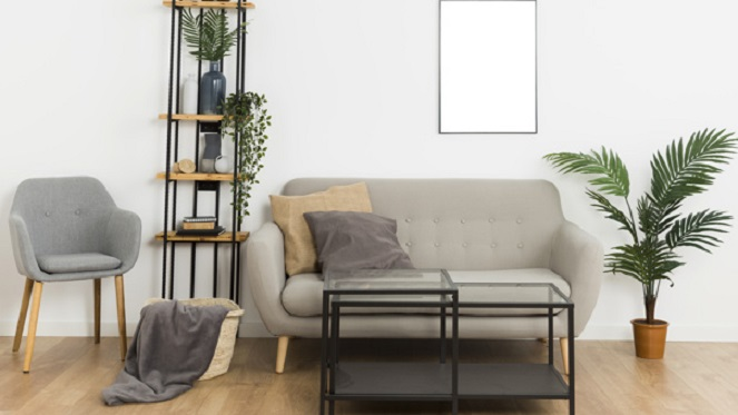plants with couch and shelf and empty frame on wall