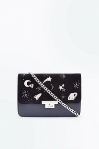 New Look Black Space Pin Embellished Shoulder Bag