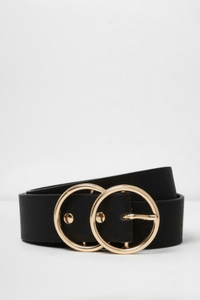 River Island Black gold tone double ring belt