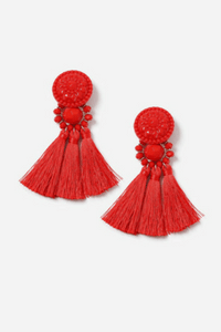 Topshop Red Bead and Tassel Drop Earrings