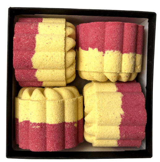 red and yellow bath bombs