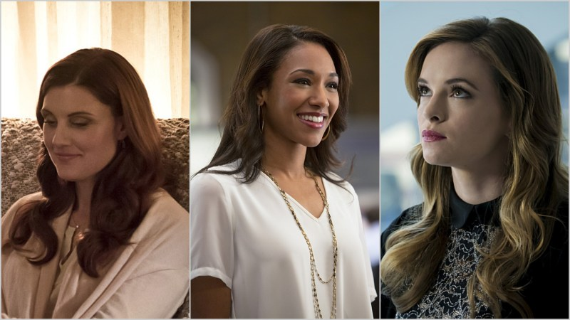 The Women of The Flash: Nora Allen (Michelle Harrison), Iris West (Candice Patton), and Caitlin Snow (Danielle Panabaker)