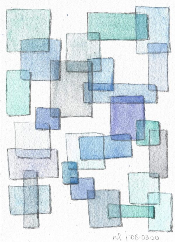Scan of a watercolor painting of overlapping translucent blue rectangles.