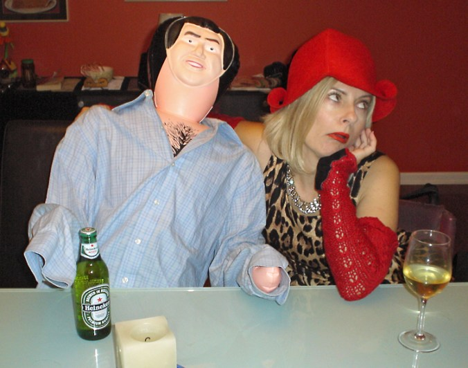 Drinking Heinekin with my male blow up doll
