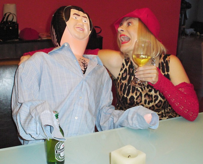 Drinking wine with my male blow up doll