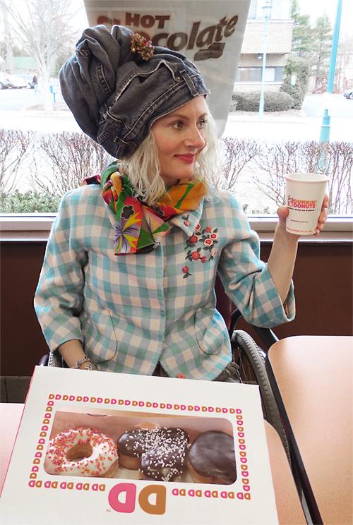 wearing a turban at Dunkin Donuts