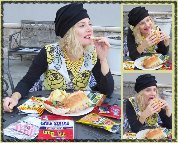 Eat potato chips on a huge sandwich