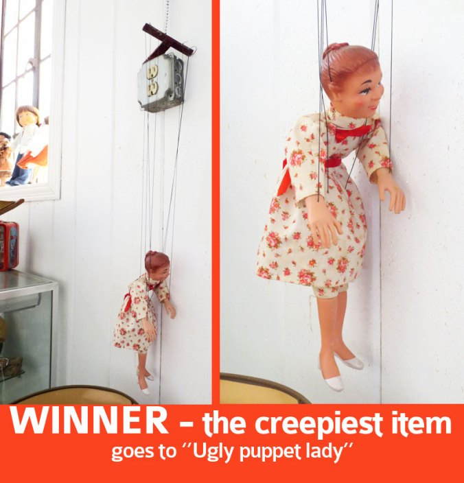 Ugly puppet doll at a ny auction