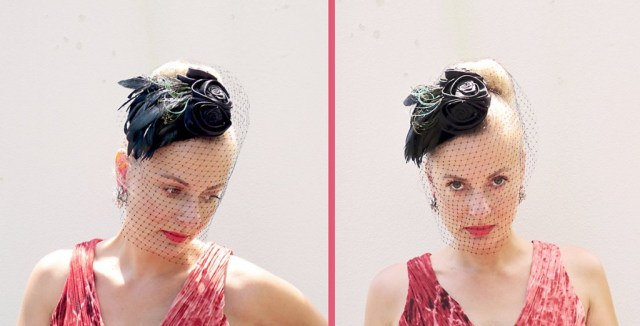 1950s look with fascinator hat