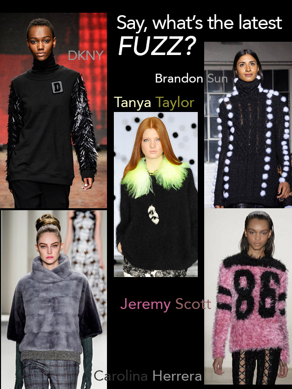 Fuzzy sweaters Fall Fashion Week 2014