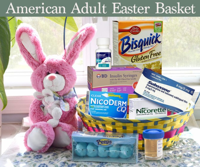 Adult Easter baskets filled with nicorette gum, urine specimen cup, gluten free bisquick and insulin needles