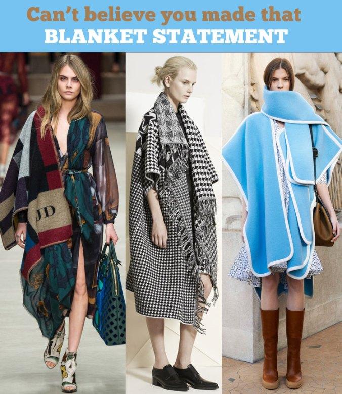 Designer Blanket Coat trend 2014 - Burberry, Stella McCartney & Chloe