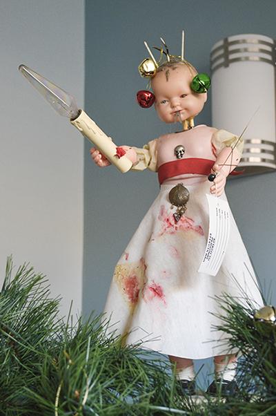 Dead baby doll creepy, gothic art sculpture