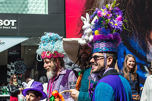3 dudes in hats easter hat parade nyc