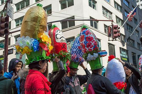 Egg hat women at the NYC Easter hat parade