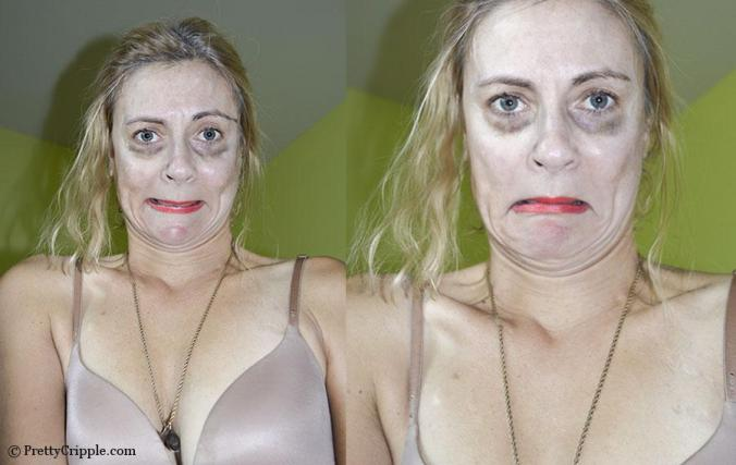 reenactment of ugly woman in a dirty bra