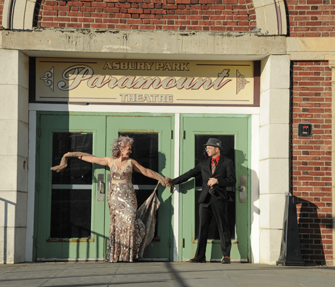 Wedding couple Paramount Theater Asbury Park NJ
