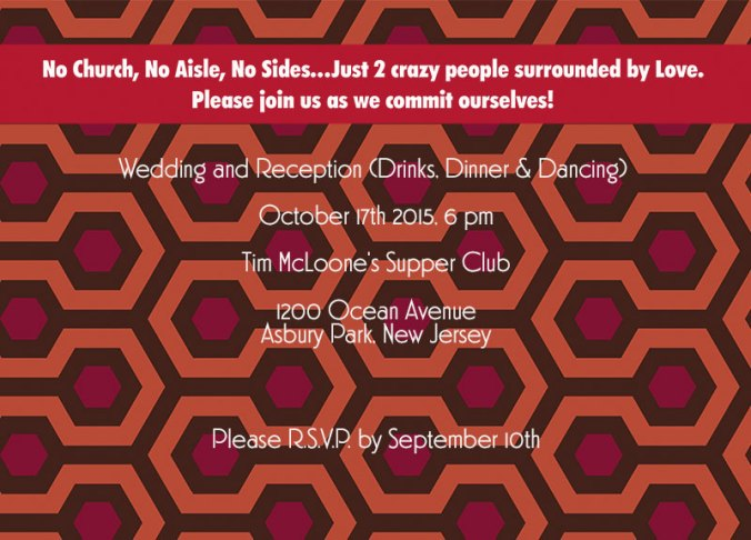 The Shining movie theme wedding invite