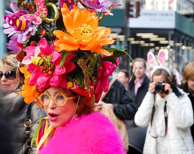 Pink flower lady at the easter hat parade 2016 nye