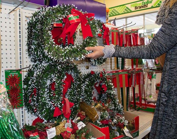 Christmas wreath dollar tree store