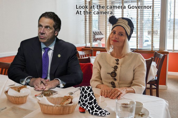 Pretty Cripple and Governor Cuomo having lunch and discussing shoes
