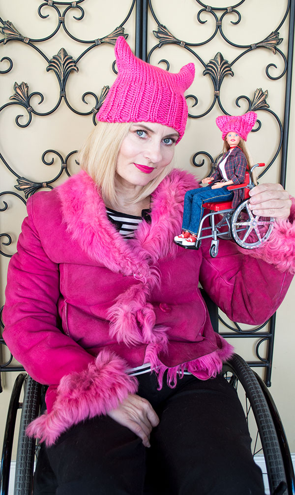 Wheelchair Barbie knitted cat hat