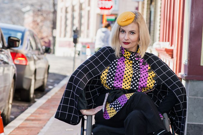 Wheelchair fashion blogger wearing Duro Olowu cape