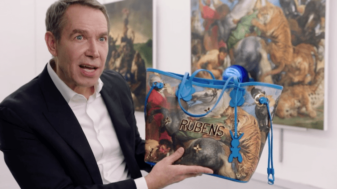 Jeff Koons with Louis Vuitton Titian bag