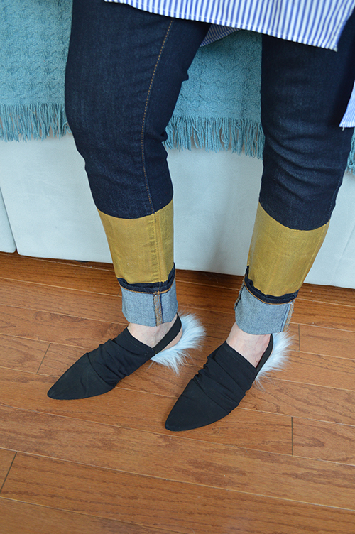 Gold dipped jeans DIY