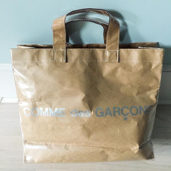 Comme Des Garcons laminate paper tote bag