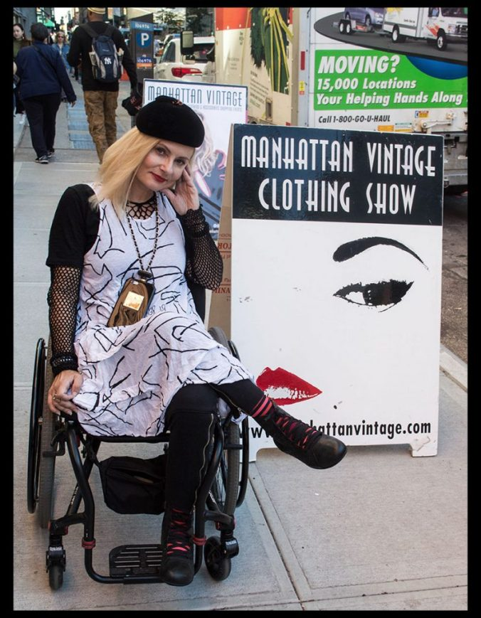 Wheelchair streetstyle at the Manhattan Vintage Show