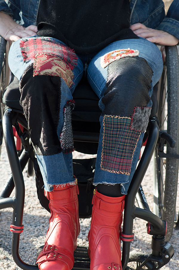DIY patchwork jeans project orange prada boots