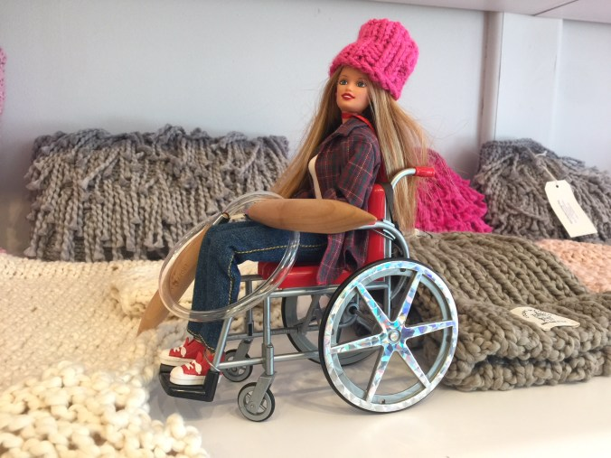 Wheelchair Barbie in Loopy Mango yarn store Beacon NY