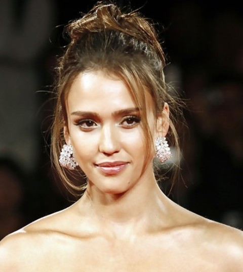 Jessica Alba Long Hairstyles Glamorous Loose Bun Pretty