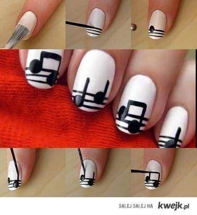 Nail DIY - Music Notes Nail Art