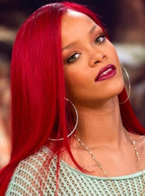 Rihanna Long Hairstyles Stylish Scarlet Side Swept