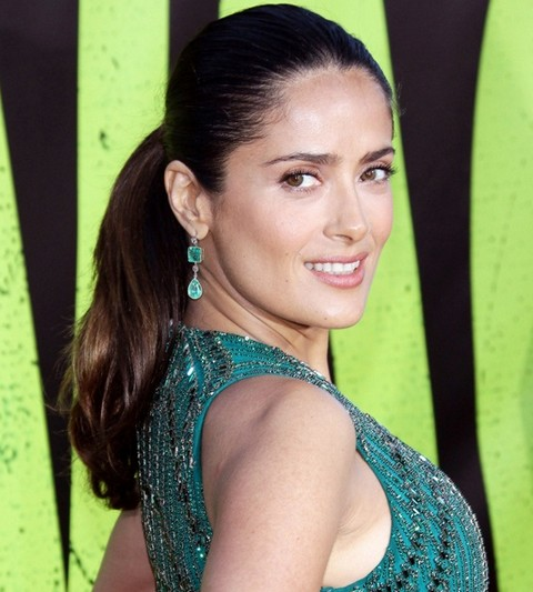 Salma Hayek Hairstyles Cheerful Ponytail Pretty Designs