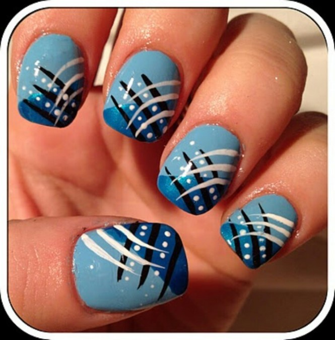Blue Silver And White Striped Nail Art Design