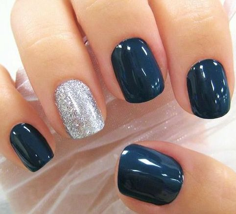 Navy Nails Via Blue And Red