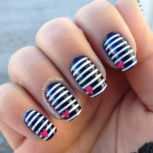 Nails Painted Black And White Stripes