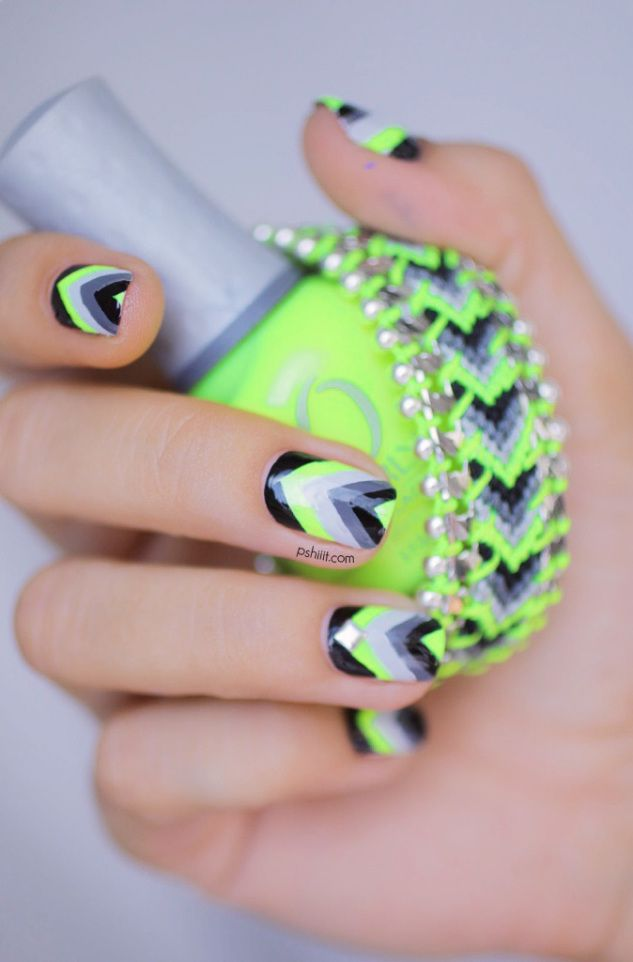Neon Grey And Black Nails