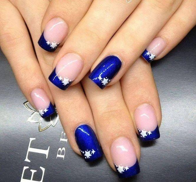 Dark Blue And White Ombre Nail Art Design Idea